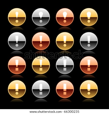 Attention warning icon web 2.0 button with exclamation mark. Metal round shape with reflection on black - stock vector