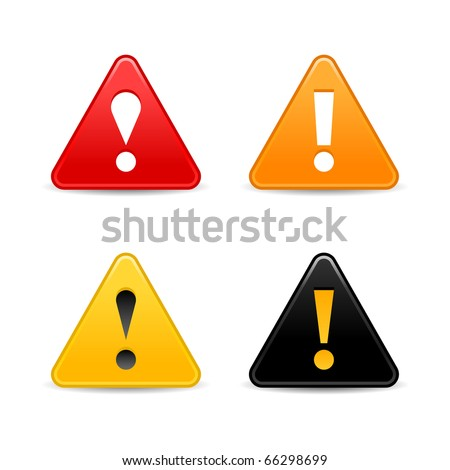Attention warning icon web 2.0 button with exclamation mark. Satin triangle shape with shadow on white - stock vector