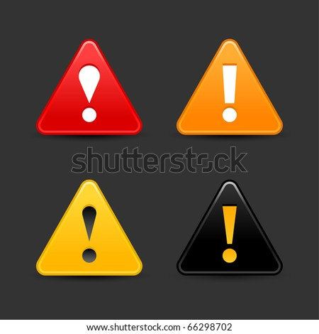 Attention warning icon web 2.0 button with exclamation mark. Satin triangle shape with shadow on gray - stock vector