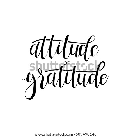Attitude Gratitude Card Hand Drawn Lettering Stock Vector