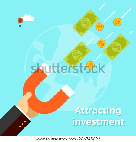 Attracting investments concept. Money business success dollar magnet. Vector illustration - stock vector