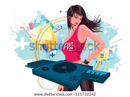 Attractive and beautiful women DJ playing music in the party - stock vector