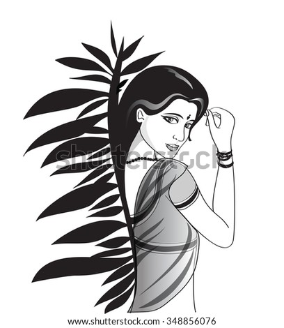 Attractive asian girl, black and white color. - stock vector