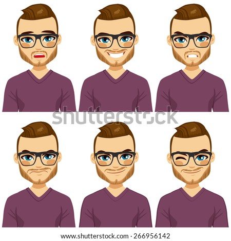 Attractive brown haired young hipster man with glasses on six different face expressions collection - stock vector