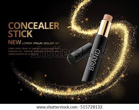 Attractive Concealer stick ads, 3d illustration foundation product with glittering sequins or dust in the air
