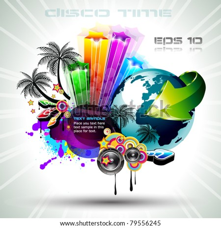 Attractive Disco Flyer Background with a lot of design elements icludiind a 3D globe for international latin music event posters.