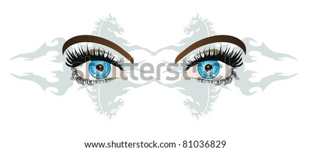 Attractive female blue look - stock vector