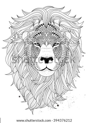 attractive fluffy lion head - adult coloring page  - stock vector
