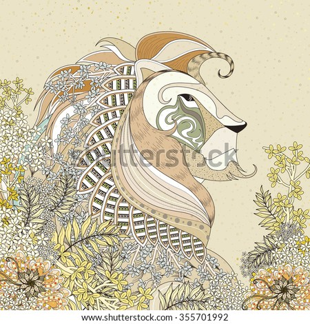 attractive lion coloring page with floral elements in exquisite line - stock vector