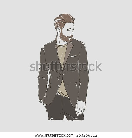 Attractive man with beard in fashionable clothes hand draw vector illustration - stock vector