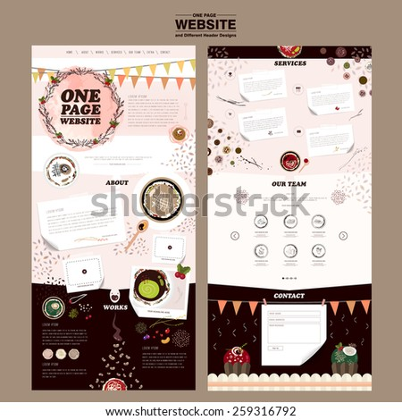 attractive one page website design template with colorful dishes  - stock vector