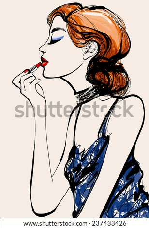 Attractive woman fashion model applying lipstick - Vector illustration  - stock vector