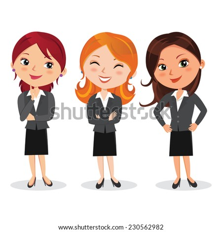 Attractive woman in business outfit. Vector illustration of beautiful women in various poses. - stock vector