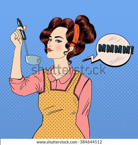 Attractive Woman in Pop Art Style Cooking in the Kitchen. Vector illustration in comic style - stock vector