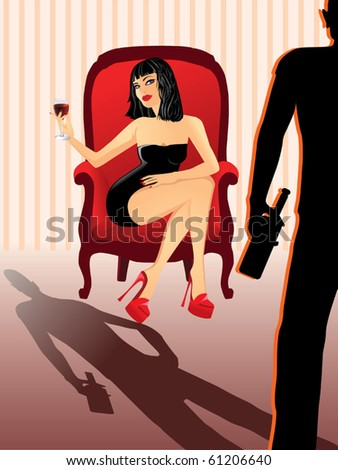 Attractive woman with glass of wine vector - stock vector