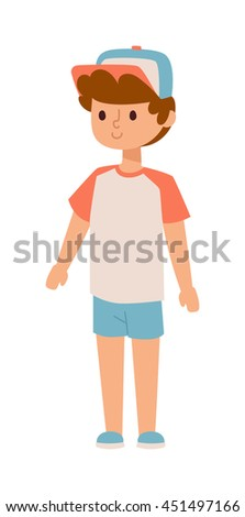 Attractive young boy stands. Fashion small school boy stands and youth cheerful fun character. Vector character boy stands and lifestyle one beautiful stand adorable teen. - stock vector