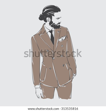 Attractive young man with beard in fashion suit. Vector hand draw illustration. Isolated. - stock vector