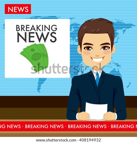 Attractive young tv newscaster man reporting breaking news sitting in a studio - stock vector