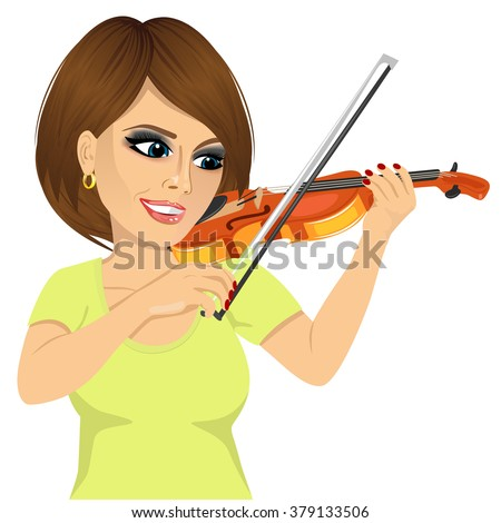 attractive young woman playing violin