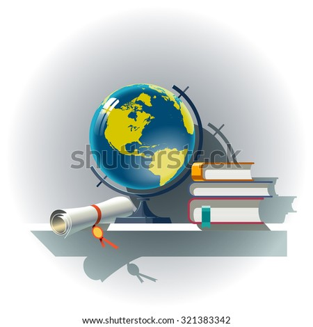 Attributes of Education. Vector composition.  - stock vector
