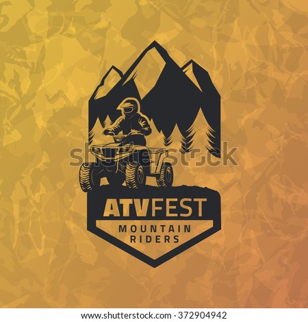 ATV emblem on grunge yellow background. All-terrain vehicle off-road design elements. - stock vector