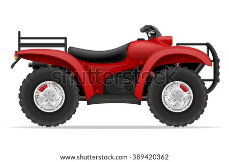 atv motorcycle on four wheels off roads vector illustration isolated on white background - stock vector