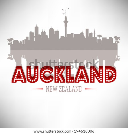 Auckland New Zealand skyline silhouette design, vector illustration. - stock vector