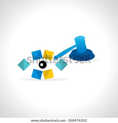 auction and hammer with eye justice vision vector illustration  - stock vector