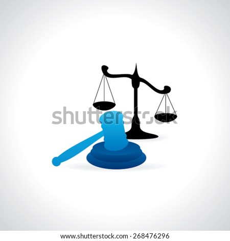 auction and hammer with scale vector illustration - stock vector