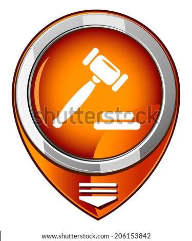 Auction gavel orange map pointer - stock vector