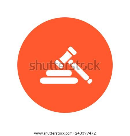 Auction hammer symbol. Law judge gavel icon. Flat design style. - stock vector