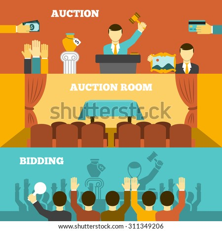 Auction horizontal banners set with room and bidding flat isolated vector illustration  - stock vector
