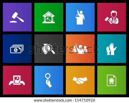 Auction icons in Metro style - stock vector