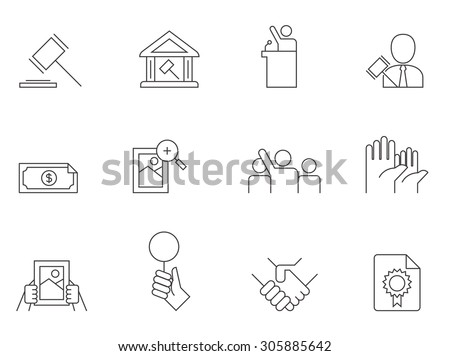 Auction icons in thin outlines. - stock vector