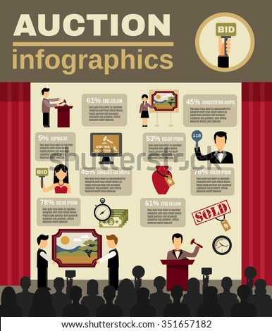 Auction infographic set with bidding and money symbols flat vector illustration  - stock vector