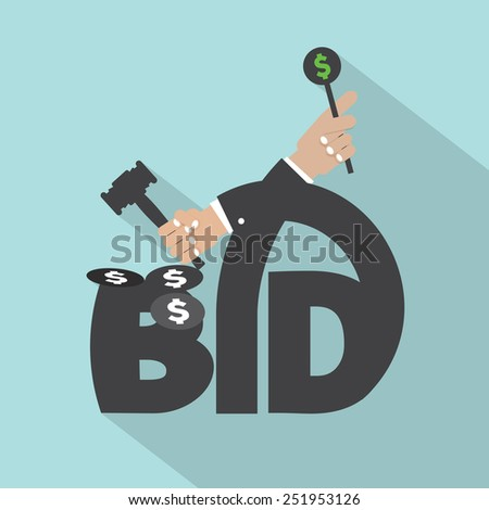 Auction Or Bid Typography Design Vector Illustration - stock vector