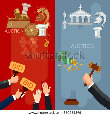 Auction vertical banners selling antiques and real estate vector illustration  - stock vector
