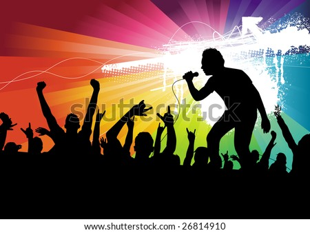 Audience and the Performer. Vector Illustration. - stock vector