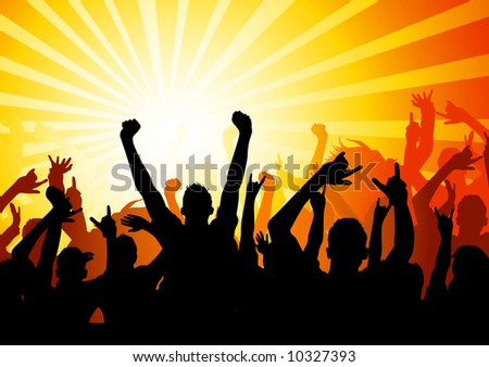Audience blasted by music and light - stock vector