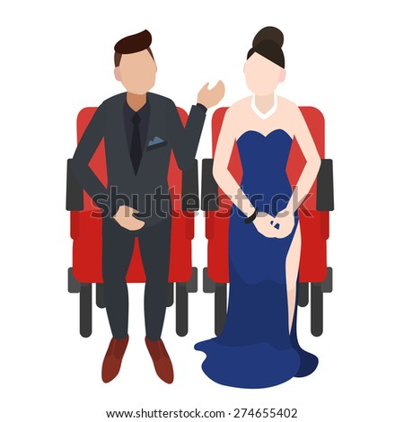 Audience couple are sitting on red seats for cinema, theater, conference or concert vector illustration.  - stock vector