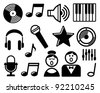 Audio and Music icons - stock photo