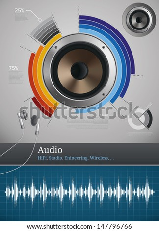 Audio and sound icons and symbols for infographics - stock vector
