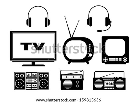 Audio and TV icons  - stock vector