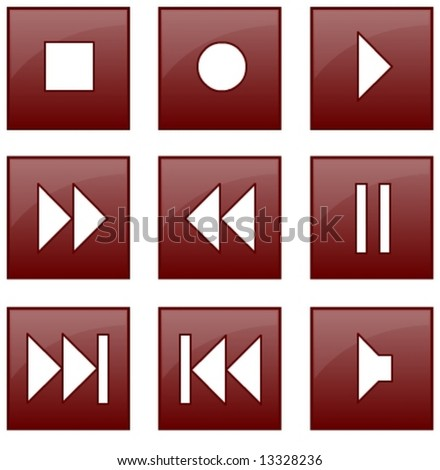 audio and video control buttons in vector design - stock vector