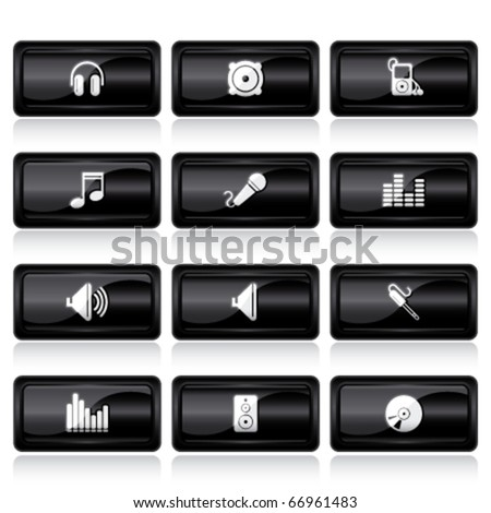 audio black large buttons - stock vector