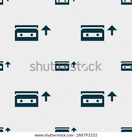 audio cassette icon sign. Seamless pattern with geometric texture. Vector illustration - stock vector
