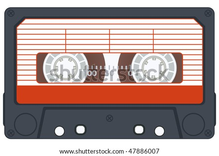 Audio cassette on white background. Vector without gradients