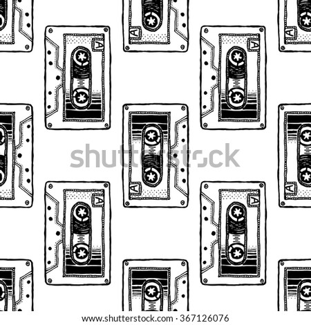 Audio Cassette. Seamless pattern for t-shirt design with contrast bright background. Hand drawn, pen and ink. Suitable for package, wrapping, poster, postcard, greeting card - stock vector
