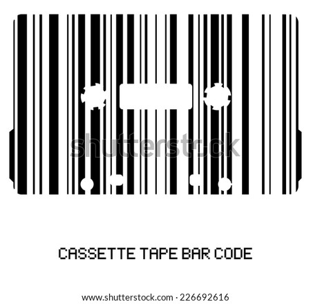 Audio cassette tape - bar code icon, black and white stripes design. symbol for music shop. vector art image illustration, isolated on white background - stock vector