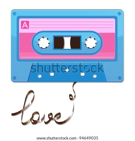 Audio cassette tape. Film written love - stock vector
